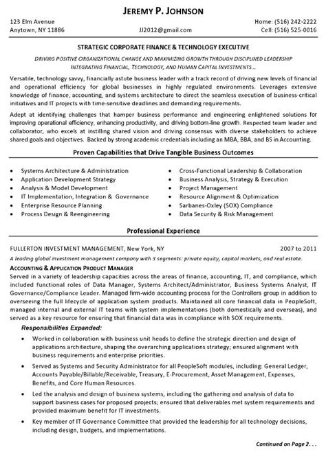 resume sle finance tech executive page 1 resume for