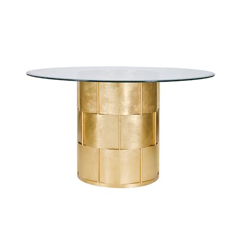 48 glass table top worlds away amanda gold leaf basketwave dining table with