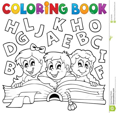 coloring book kids theme  stock vector image  clipart