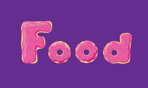 phrase cuisine the word food made out of donuts typography