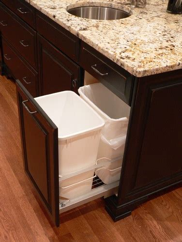 Storage Ideas For Kitchens - recycle and trash under sink storage ideas traditional kitchen kitchens pinterest
