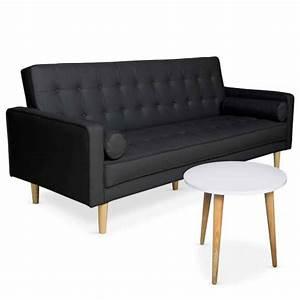 Table D Appoint Canapé : ensemble canap convertible table d 39 appoint tenor noir ~ Teatrodelosmanantiales.com Idées de Décoration
