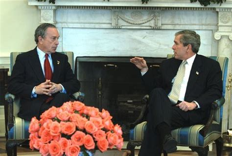president george  bush talks   york city mayor