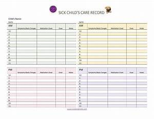 Medication Chart Template Free Download Your Sick Child 39 S Daily Care Record Free Printable Logs