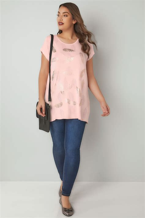 Rosa Feder Folien Druck Tshirt, In Großen Größen 4464