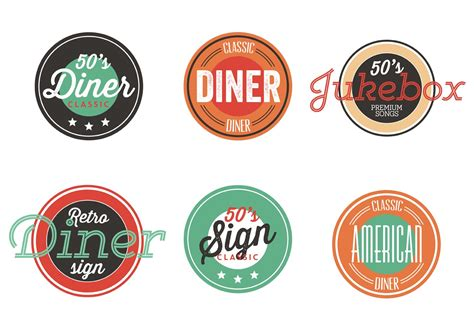 Vintage 50s Diner Label Collection   Download Free Vector Art, Stock Graphics & Images