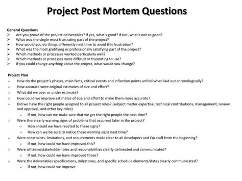 project post mortem questions powerpoint