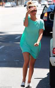 Make-up free Ashley Tisdale hits the shops in turquoise ...