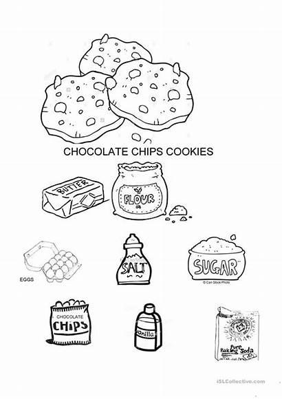 Cookies Ingredients Coloring Vocabulary Worksheets English Esl