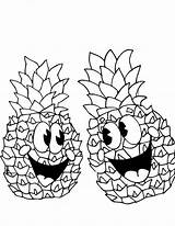 Pineapple Coloring Happy Pair Pages Outline Cartoon Pineapples Spongebob Drawing Printable Getdrawings Getcoloringpages Colornimbus sketch template