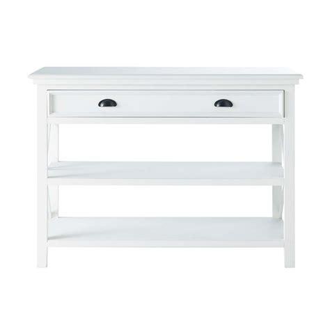 wooden console table white   cm newport maisons du monde