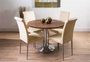 esszimmer nussbaum nussbaum esstisch rund mit tischbeine edelstahl rund inklusive esszimmerstühle leder beige für