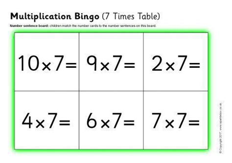 multiplication bingo  times table sb sparklebox
