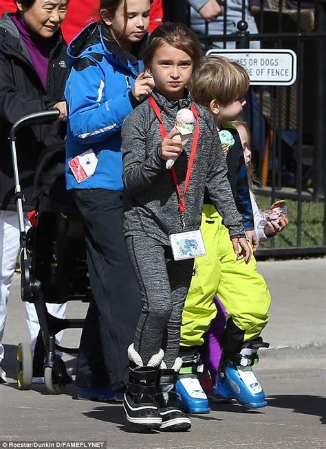 skiing leg trump tristan aspen breaks donald arabella layer wearing base still grandson jr