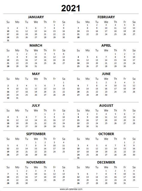 printable calendar  vertical  yearly calendar