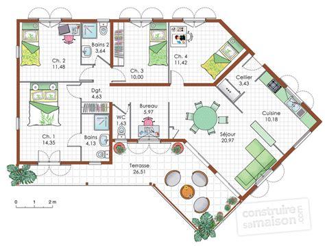 plan maison 5 chambres plain pied maison de plain pied 5 dé du plan de maison de plain