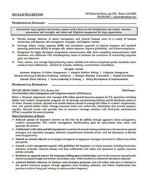 Attorney Resume Exles by Litigation Attorney Resume Exle Resume Exles And Resume