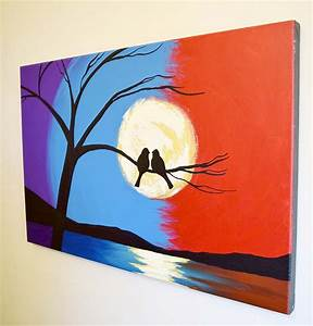 abstract landscape art bird on a wire modern painting