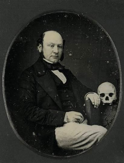 Daguerreotype Portrait Animated Stereoscopic Skull Human Posing