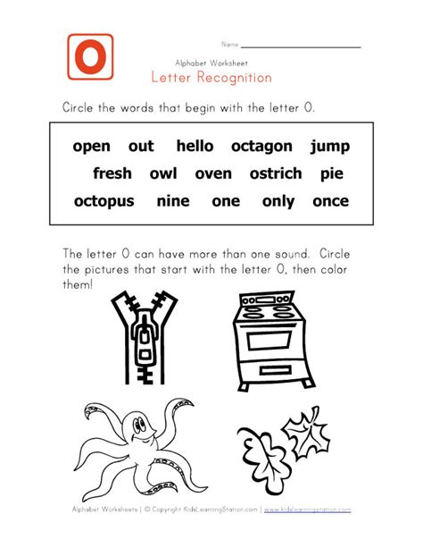words with the letter o letter o words alphabet recognition page learning