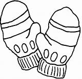 Pages Gloves Coloring Clipart Colouring Hat Mittens Printable sketch template