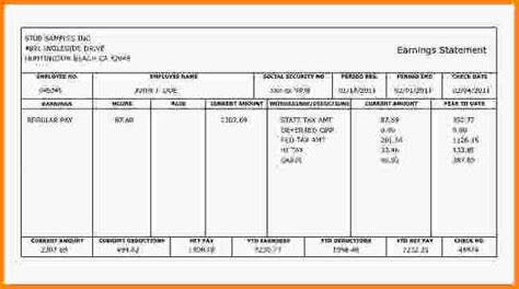 fake paycheck stubs templates simple salary slip