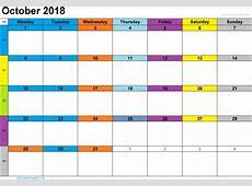 October 2018 Printable Calendar Printable Calendar Templates