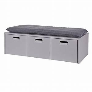 Banc Avec Rangement : banc en pin gris coffre de rangement 3 tiroirs arthur ~ Melissatoandfro.com Idées de Décoration
