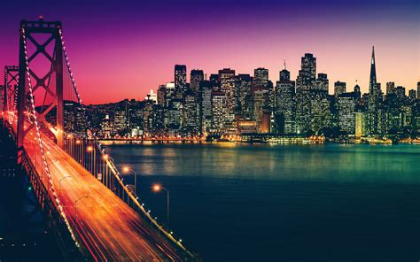 artistic sunset san francisco cityscape hd  wallpaper