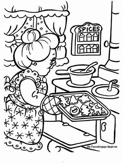 Claus Mrs Coloring Baking Cookies Santa Christmas