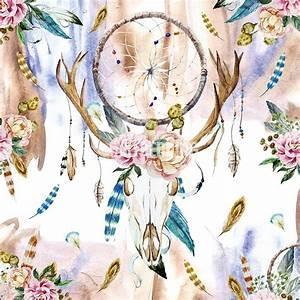 Boho bedding, Watercolor deer skull wildflowers duvet