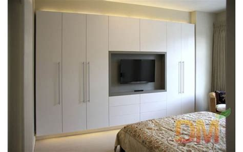 hight gloss bedroom set built in wardrobe with tv unit