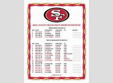 Printable 20182019 San Francisco 49ers Schedule