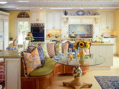 yellow french country kitchen  colorful banquette area