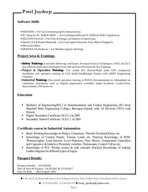 resume for metering or instrumentation engineer