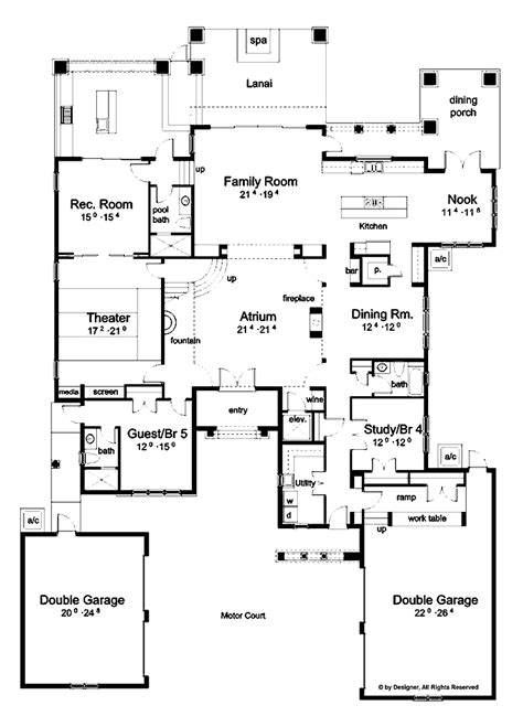 home plans with courtyard mediterranean floor plans with courtyard hacienda floor