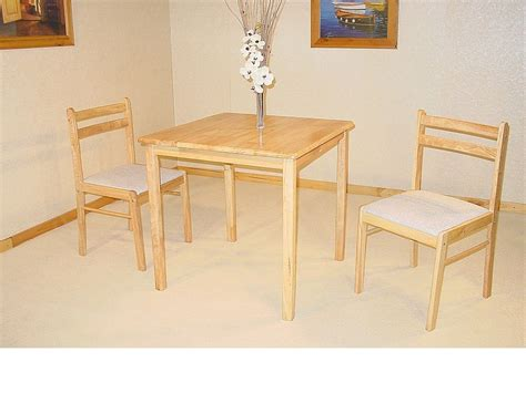 small square solid rubberwood dining table 2 chairs