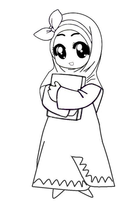 gambar anime muslim hitam putih gambar mewarnai kartun muslim terbaru gambarcoloring