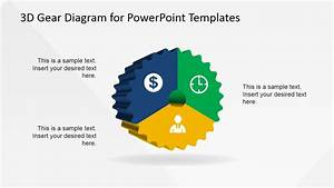 3 Steps 3d Powerpoint Gear Diagram