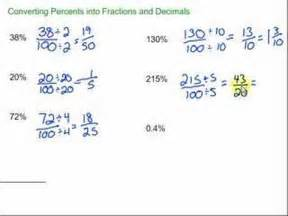 how do you turn decimals into fractions converting percents into fractions and decimals