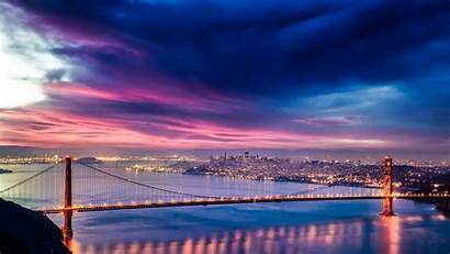 4k Night Sunset Golden Bridge Gate San