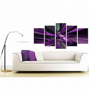 Extra Large Purple Abstract Canvas Prints UK - 5 Piece