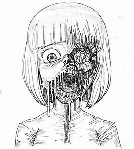 scary art Black and White anime creepy horror draw manga ...