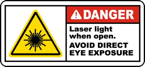 laser light warning label danger laser light when open label j5401 by safetysign com