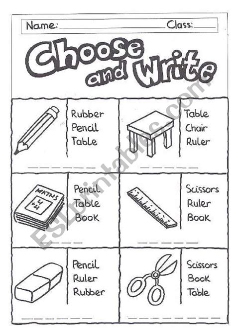 english worksheets choose and write classroom objects
