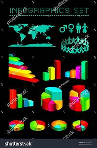 Set Shiny Graphics Diagrams Stock Vector 83460937