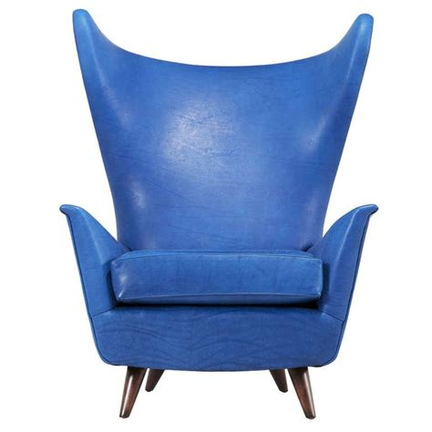 italian midcentury wingback chair in sapphire blue