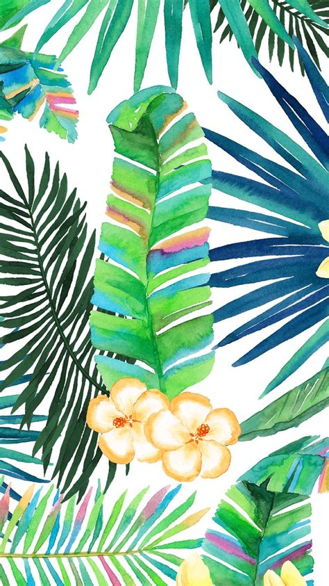 tropical floral plant vibes iphone wallpaper