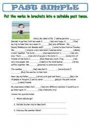 Past Simple With A Reading And With Comprehension Questions