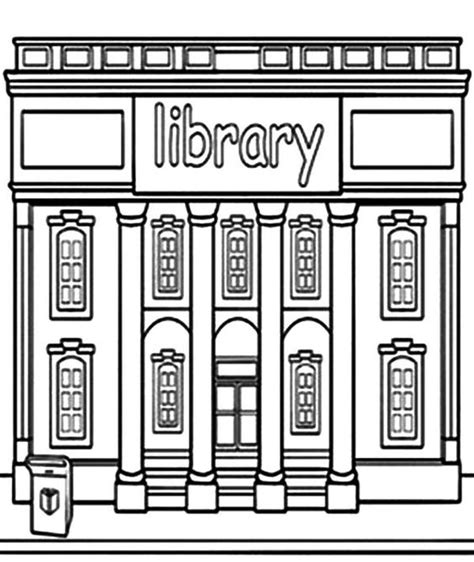 library building coloring pages library building coloring